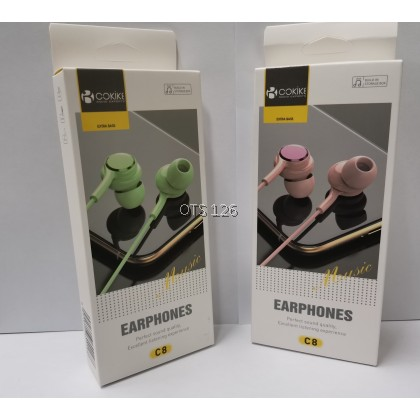 COKIKE Extra Bass Music Build-In Storage Box Earphone C8