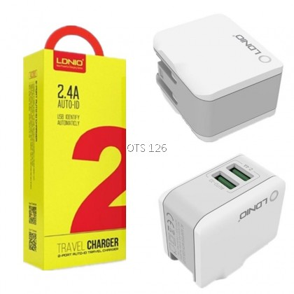 LDNIO 2.4A 2 Port Auto-ID Travel Charger (A2203)