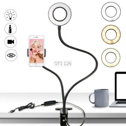 BRACKET CELL PHONE HOLDER WITH SELFIE RING LIGHT FLASH
