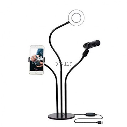Cell Phone Holder with Selfie Ring Light for Live Stream Clip Holder Lazy Bracket